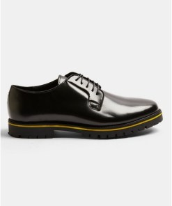 Derby-Schuhe aus Leder mit gelber Sohle, schwarz, SCHWARZ