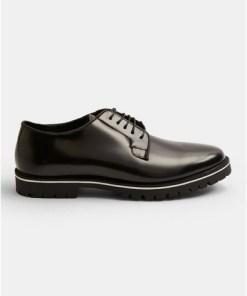Derby-Schuhe aus Leder mit weißer Sohle, schwarz, SCHWARZ