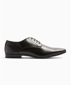 Derby-Schuhe in Lederoptik, schwarz, SCHWARZ