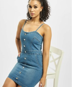 Missguided Frauen Kleid Button Detail Stretch Denim Mini in blau