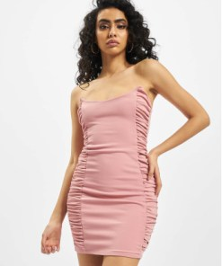 Missguided Frauen Kleid Scuba Crepe Ruched Side Mini in rosa