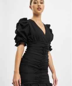 Missguided Frauen Kleid Short Sleeve Shirred Ruched Mini in schwarz