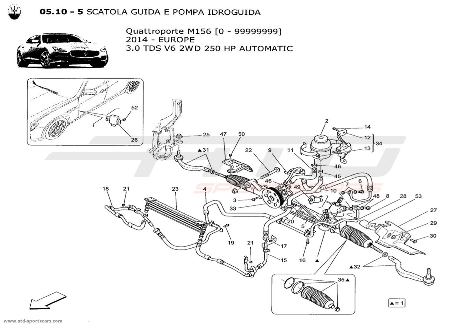 Maserati Quattroporte V6 3 0lsel Auto Steering Rack And Hydraulic Steering Pump Parts