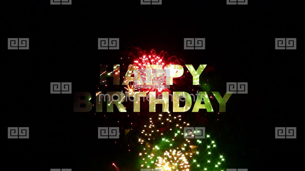 Happy Birthday Fireworks 02 Stock Animation Royalty Free