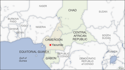 Map of Cameroon, also highlighting Chad, CAR, Equitorial Guinea and Gabon