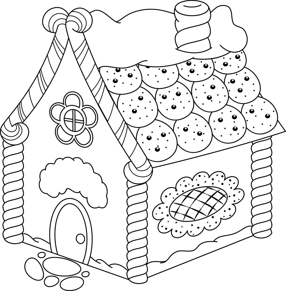 Gingerbread House Coloring Pages Printable Coloring