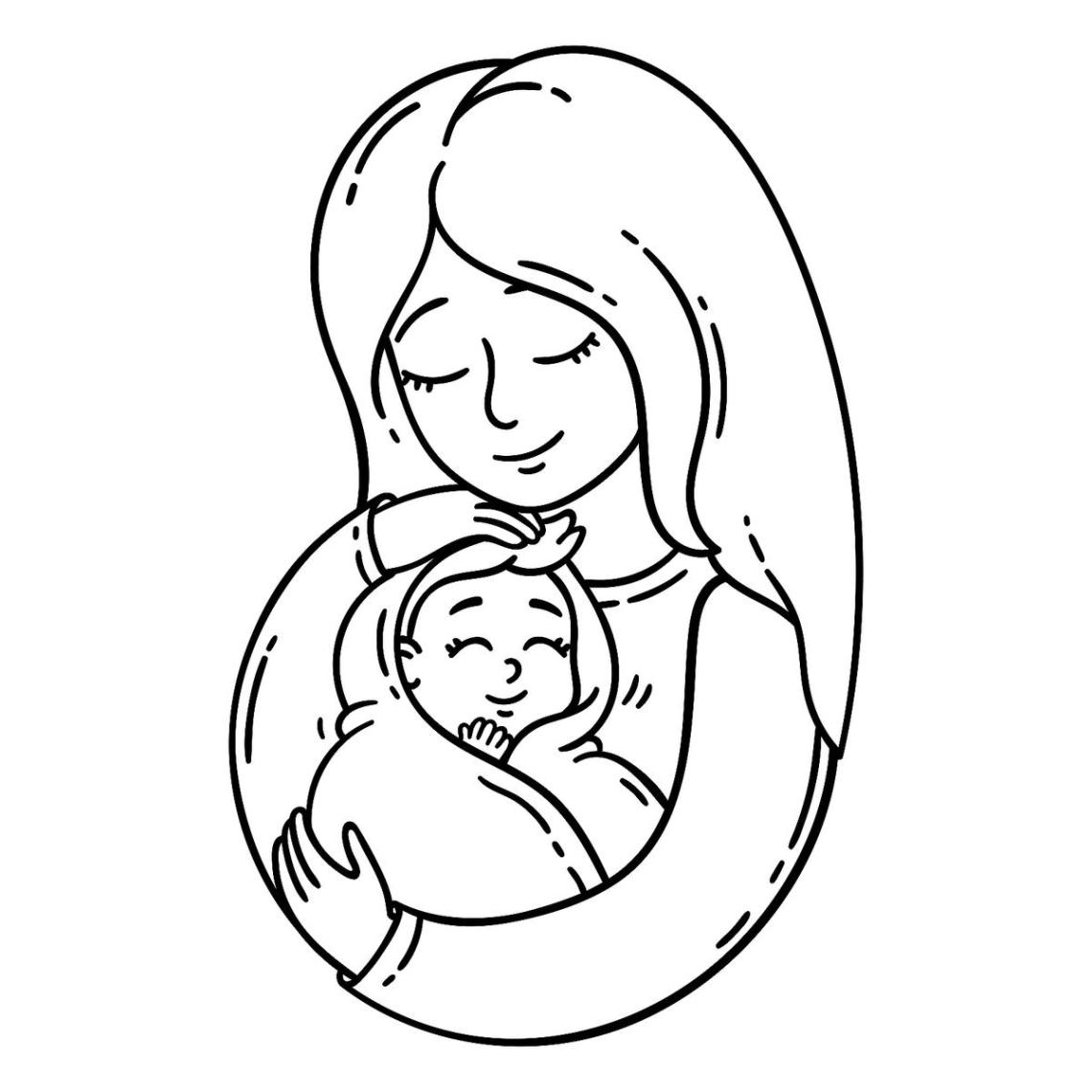 Pregnancy Coloring Pages: Free Pregnancy Printables for ... | coloring pages of baby animals and mom