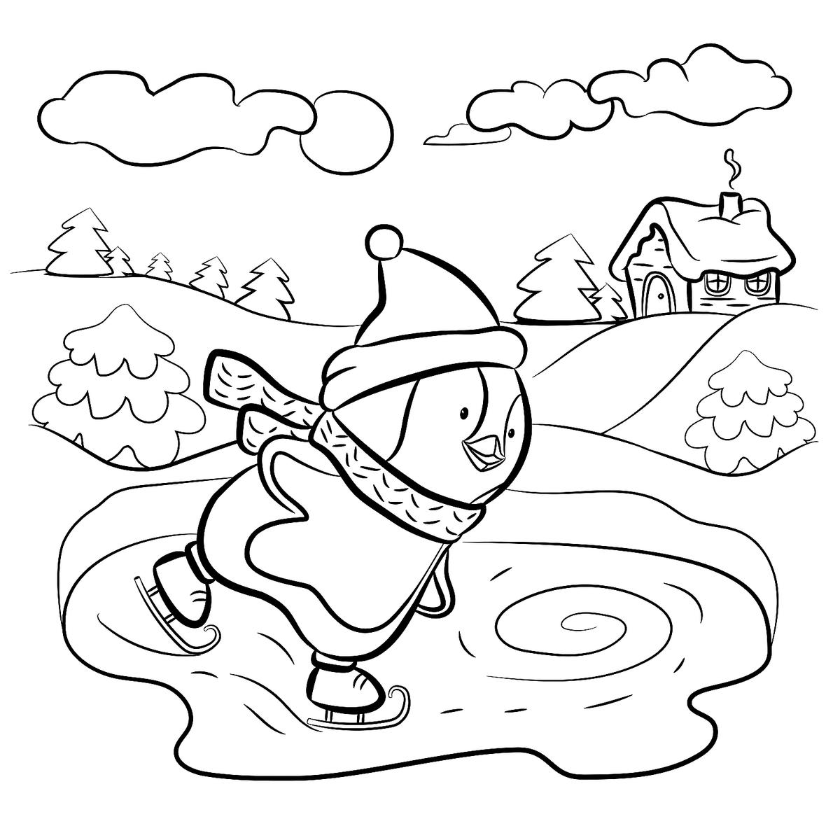 Winter Puzzle & Coloring Pages: Printable Winter-Themed ... | coloring sheets winter animals