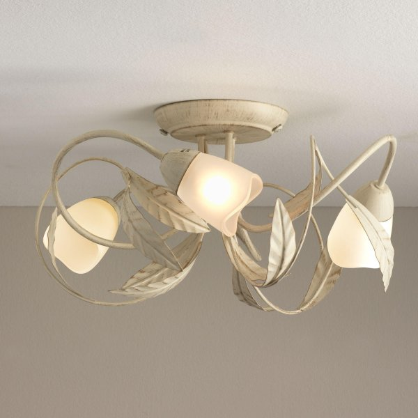 Buy Argos Home Elana 3 Light Semi Flush Ceiling Fitting   Cream     Click to zoom