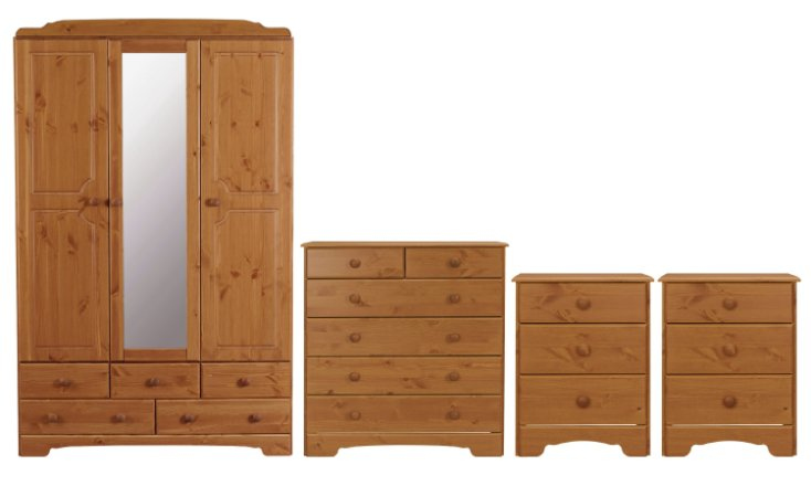 buy argos home nordic 4 piece 3 door wardrobe set pine bedroom furniture sets argos