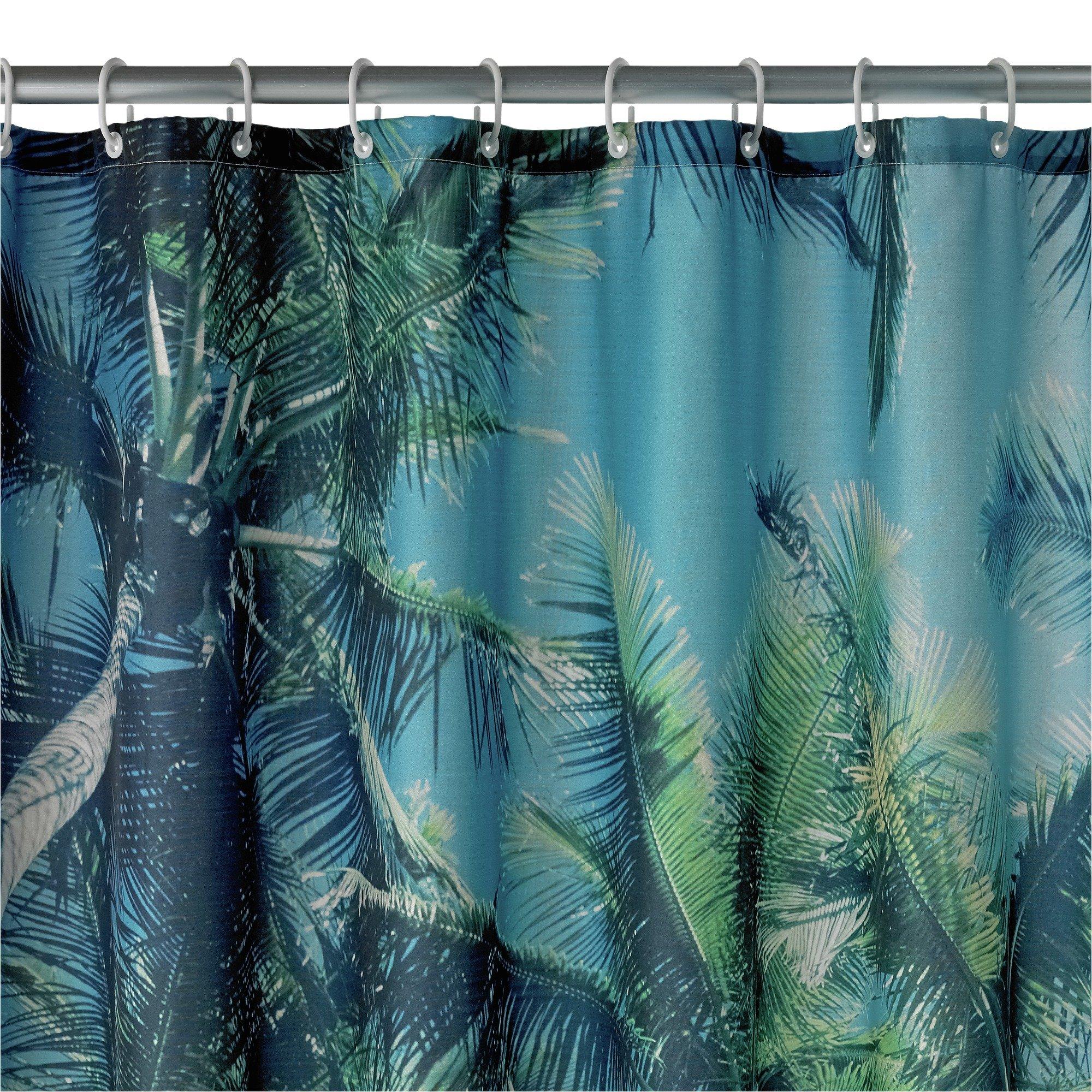 argos home palm trees shower curtain blue green