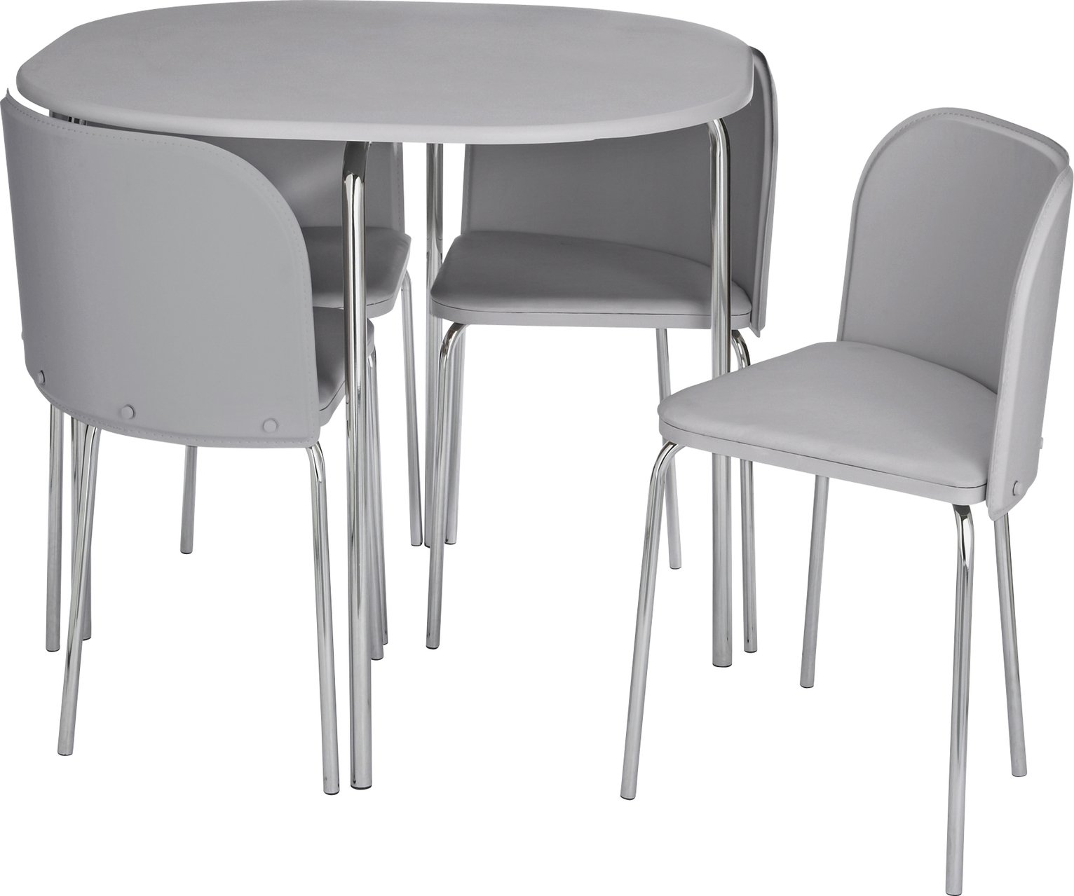 Hygena Wooden Space Saver Table And 4 Chairs Cream