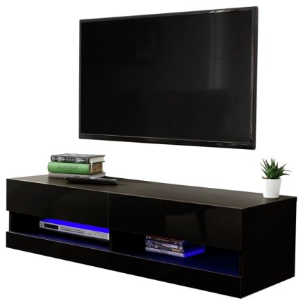 buy galicia 120cm led wall tv unit black tv units argos