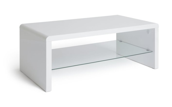 buy habitat sleigh 1 shelf coffee table white gloss coffee tables argos