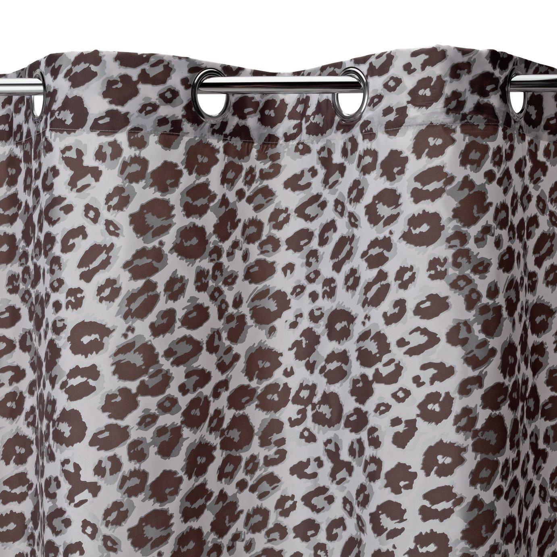 argos home leopard print shower curtain grey