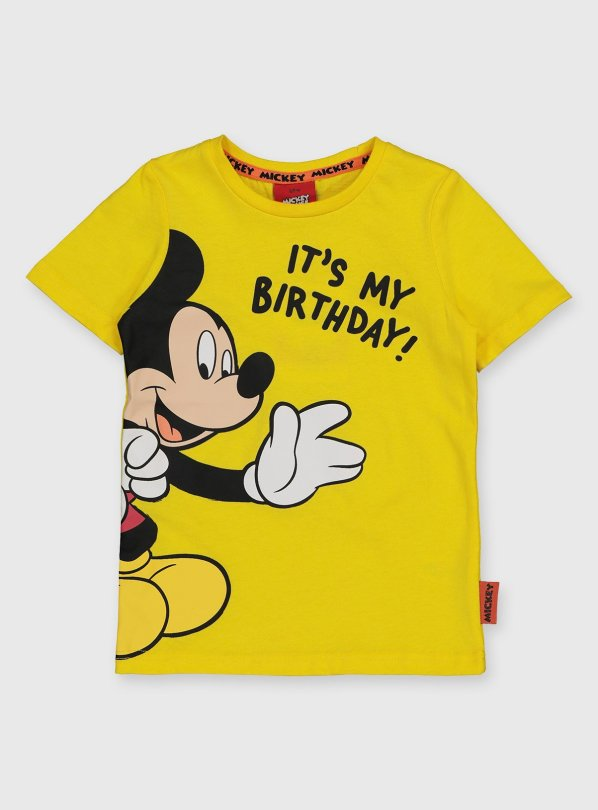 Buy Disney Mickey Mouse Birthday Yellow T Shirt 2 3 Years Tops And T Shirts Argos