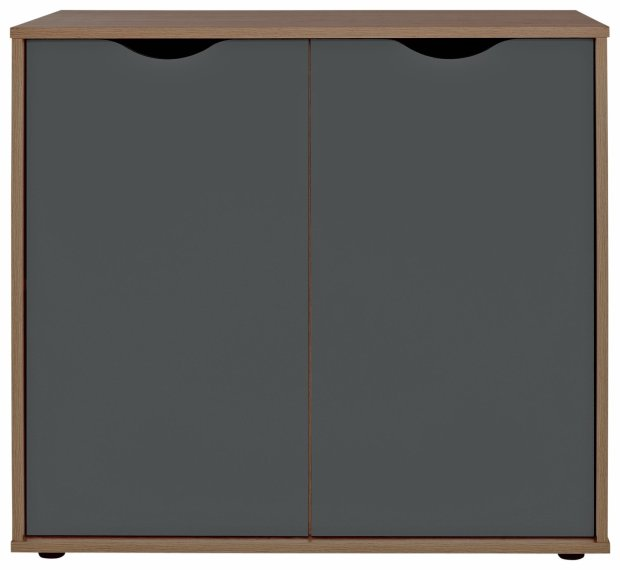 Buy HOME Berkeley Storage Cupboard Black And Walnut Effect At Your Online Shop