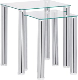buy argos home matrix nest of 2 glass tables clear nest of tables argos