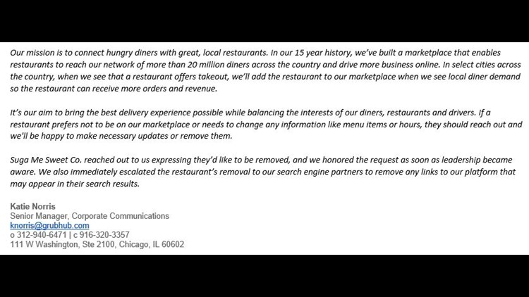 Grubhub statement