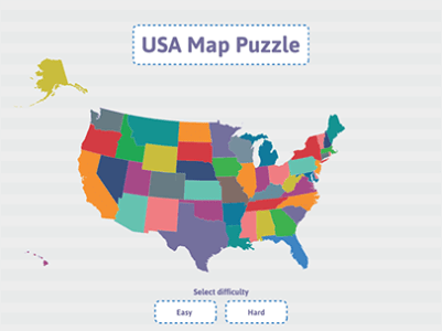 Geography Practice   USA Puzzle Map   ABCya  Children practice geography by assembling a puzzle of the USA  This  educational activity features two levels of difficulty and keeps a record  of your best