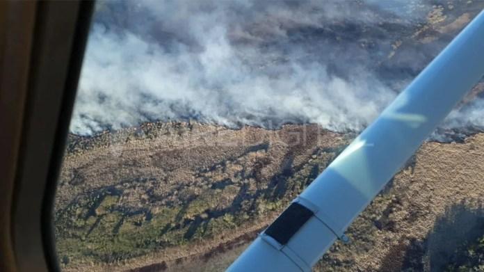 Incendios combatidos en el sur provincial este lunes.