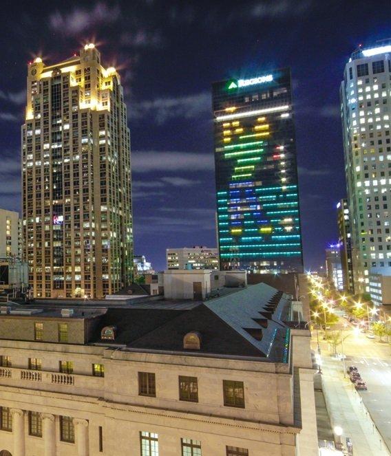 Regions Tradition Lights on Regions Tower
