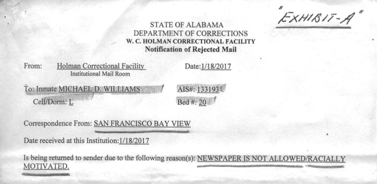A letter from the Alabama Department of Corrections.