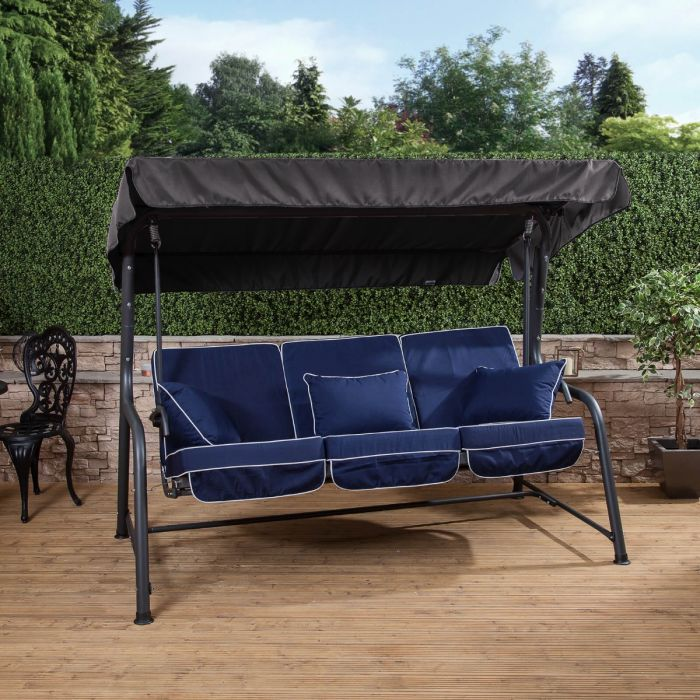 3 seater reclining swing seat with luxury cushions charcoal frame