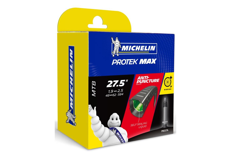 michelin chambre a air vtt b4 protek max liquide auto reparant 27 5x1 90 2 50 valve presta 40mm