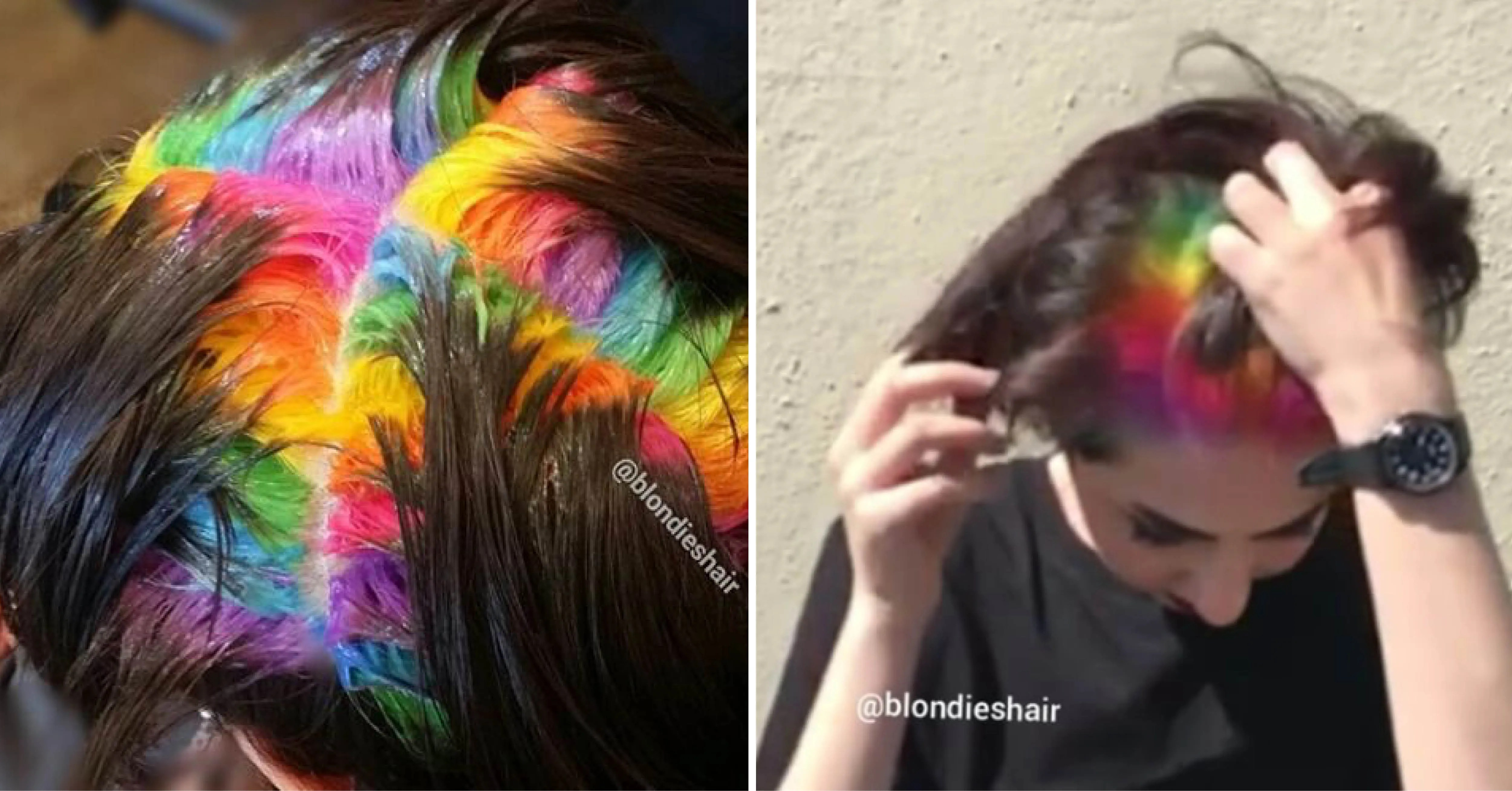 Salon Creates Hidden Rainbow Roots Hair Color Allure