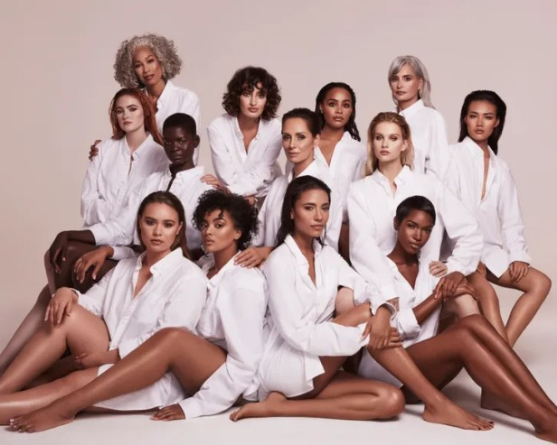 The ad campaign for KKW Beauty Concealer Kits, featuring models of all different races and ages.