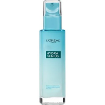 Best New Moisturizers of 2019 Tealcolored bottle of LOral Paris Hydra Genius Daily Liquid Care Moisturizer on white...