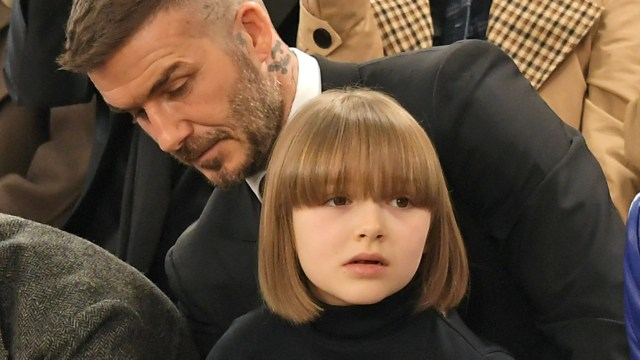 harper beckham debuts bob haircut with bangs at victoria's