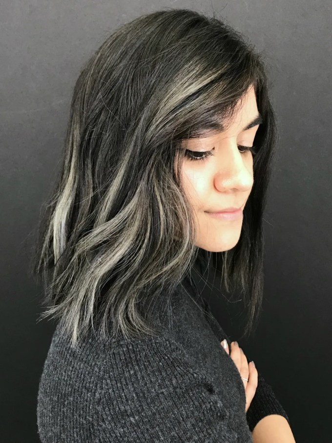 i added smoky gray highlights to my brown hair: before and