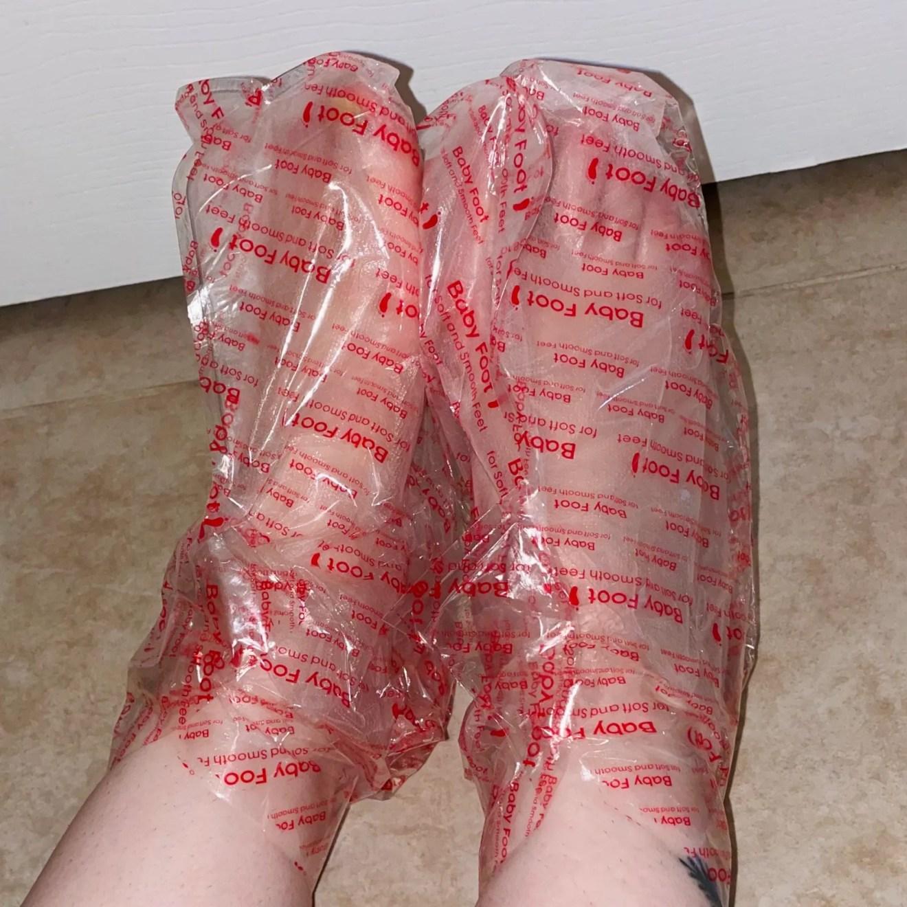 Feet wearing Baby Foot booties