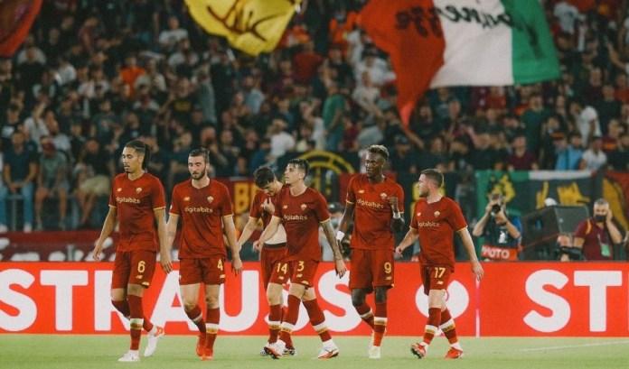 Roma players celebrate yesterday's match