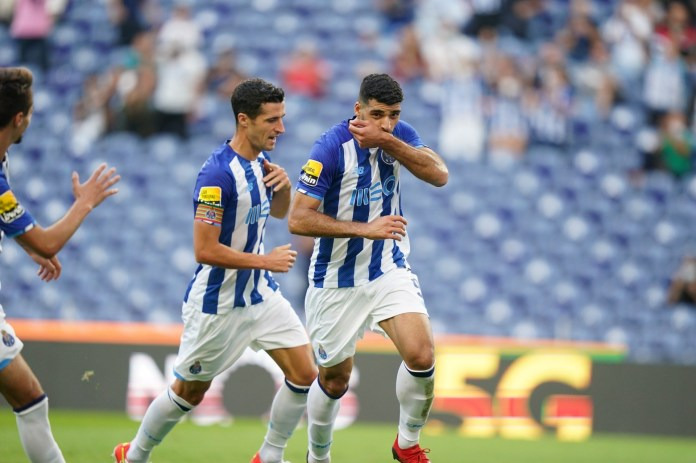 Mehdi Tarmy celebrates after scoring in the Porto match against Moreirense