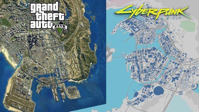 artwork showing GTA V and Cyberpunk 2077 maps