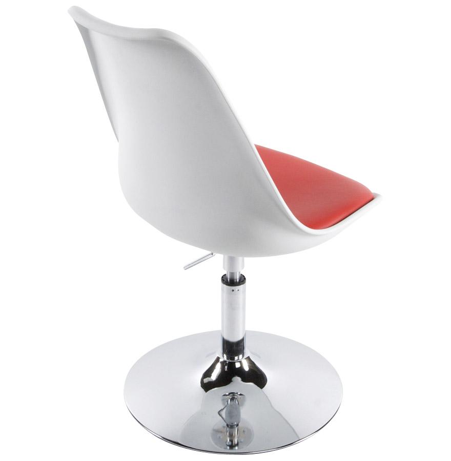 Chaise Moderne Pivotante QUEEN Rglable Blanche Et Rouge