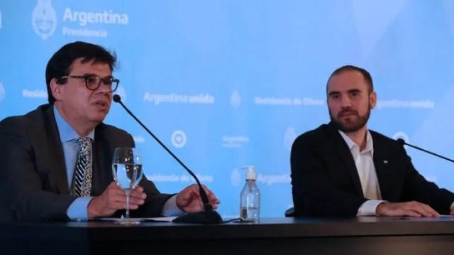 Los ministros de Trabajo, Claudio Mornoni y de Economía, Martín Guzmán en la Quinta de Olivos.