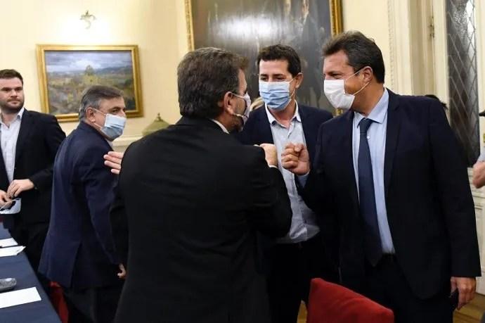 de Pedro y Massa, en su encuentro con Negri y Ritondo.