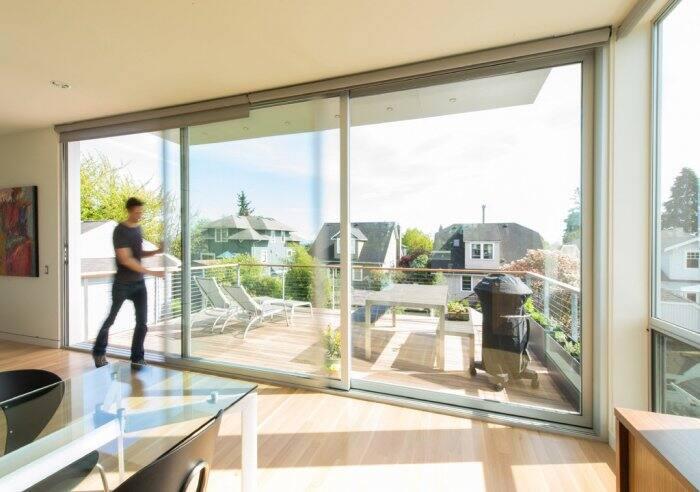 large sliding glass doors bring