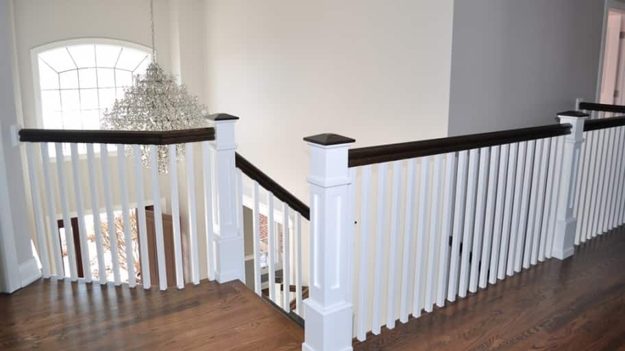 Member Photo Stairs Make A Grand Entrance Angie S List   White And Wood Banister   Stairwell   Gray White   Contemporary   Classic Wood Stair   Colonial
