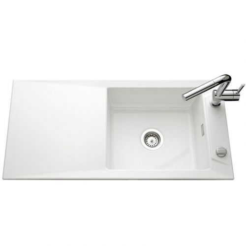 evier de cuisine blanc brillant siro l 1000 x l 490 x p 200 mm sous meuble 60 cm aquatop