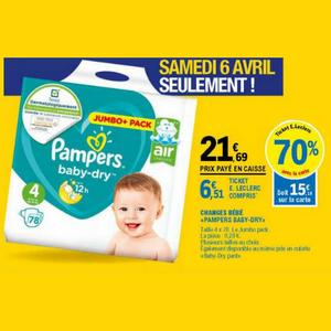 couches pampers baby dry chez leclerc