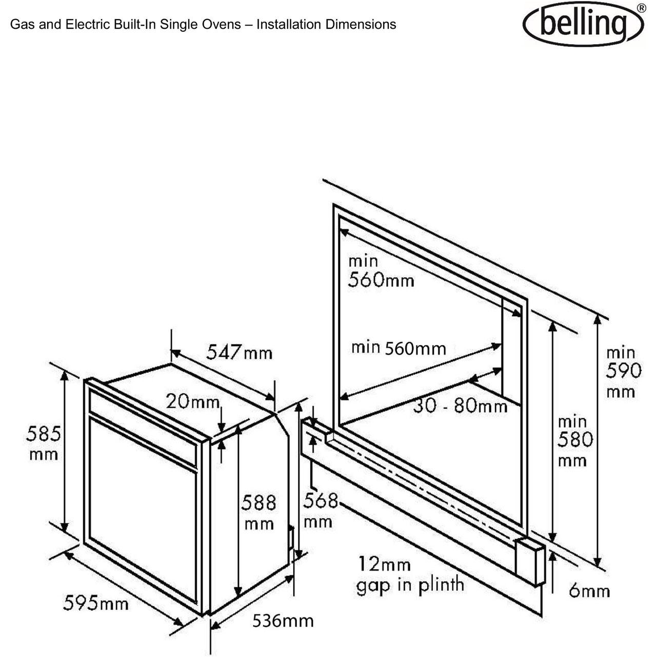 Belling Bi60fp Built In 60cm Electric Single Oven Black