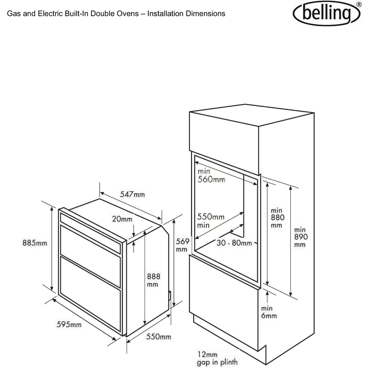 Belling Bi90fp Built In 60cm Electric Double Oven