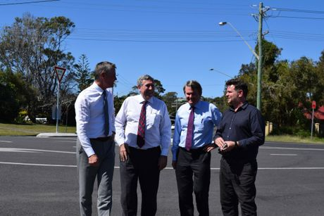 WAIT IS OVER: Byron Bay inner-town bypass road will be built with $10.5 million in state funding. Pictured at the funding announcement are Acting Premier and Minister for the North Coast Andrew Stoner, Minister for Roads and Freight Duncan Gay, Ballina MP Don Page and Byron Shire Mayor Simon Richardson.