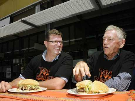 Trevor Watts, Member for Toowoomba North (left) with Toowoomba Property Developer Clive Berghofer during the Phatburger competition at Northpoint.