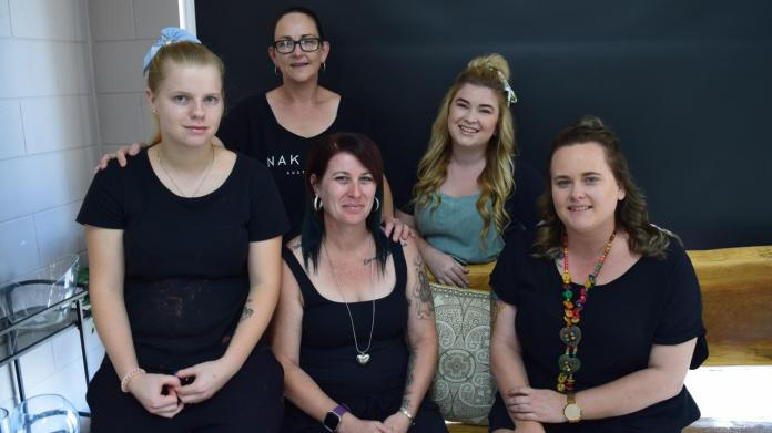 ECLECTIC CREW: Eclectic Hair team (left to right) Liana Heaton, Olivia Bing, Shannon Black, Kelsey Dixon and Tegan Haughton.